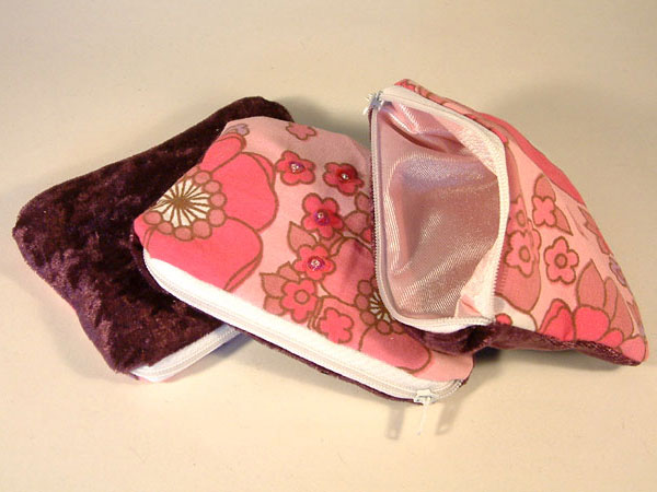 Pink Lilac & White Floral & Velvet Coin Purse