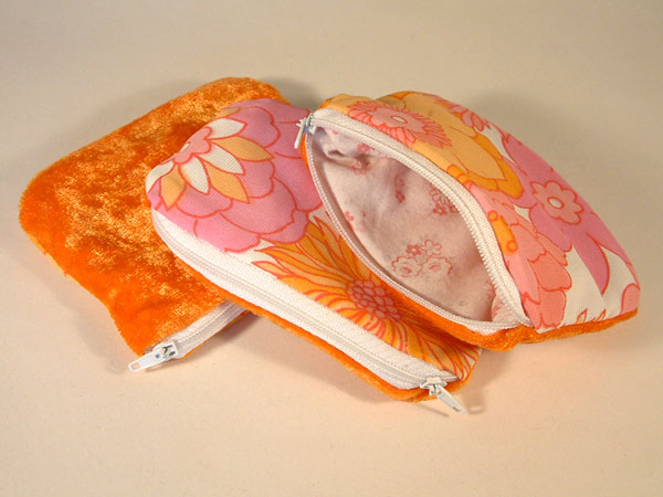 Orange Pink White Floral & Velvet Coin Purse
