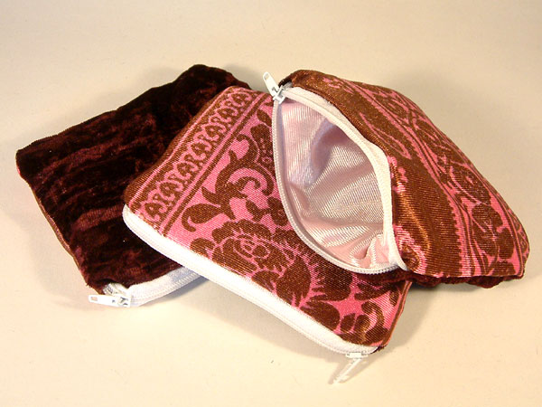 Pink Chocolate Floral & Velvet Coin Purse