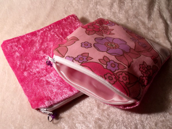Pink Lilac & White Floral & Velvet Upcycled Large Coin Purse