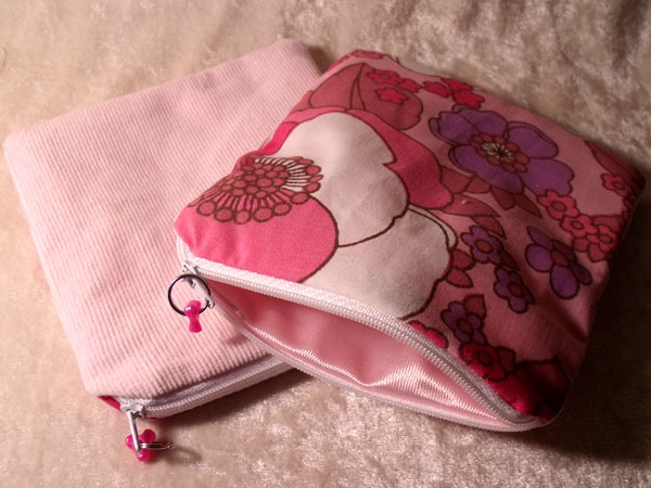 Pink Lilac & White Floral & Corduroy Upcycled Large Coin Purse