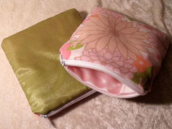 Pink Orange Green Floral & Shimmery Upcycled Large Coin Purse
