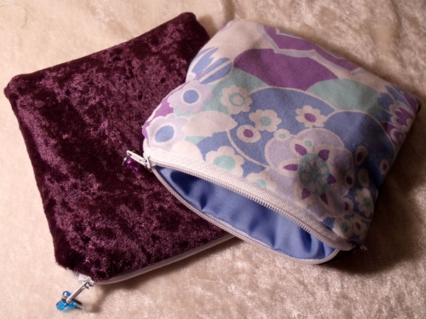 Purple Blue White Floral & Velvet Upcycled Large Coin Purse