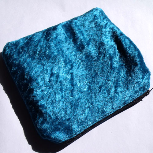 Bright Blue Crushed Velvet Large Coin Purse