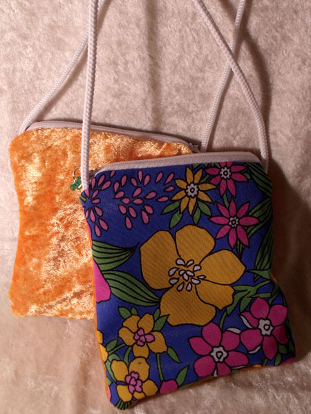 Blue Pink Orange Floral & Orange Velvet Upcycled Neck Purse