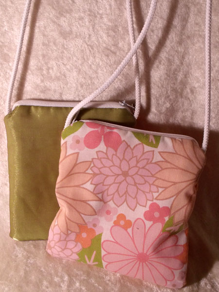 Pink Orange Green Floral & Shimmery Upcycled Neck Purse