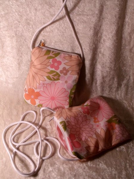 Pink Orange Green Floral & Shimmery Upcycled Neck Purse - Click Image to Close
