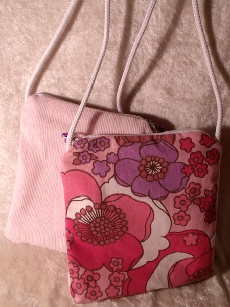 Pink Lilac & White Floral & Corduroy Upcycled Neck Purse