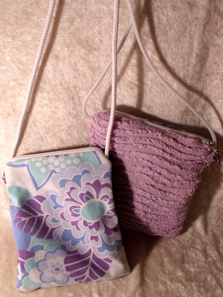 Purple Blue White Floral & Candlewick Upcycled Neck Purse