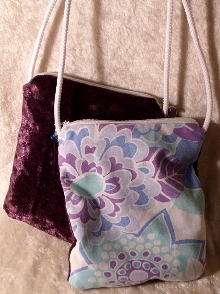 Purple Blue White Floral & Velvet Upcycled Neck Purse