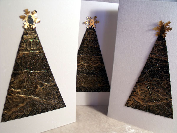 Black Gold Triangles Textured Gilt Card