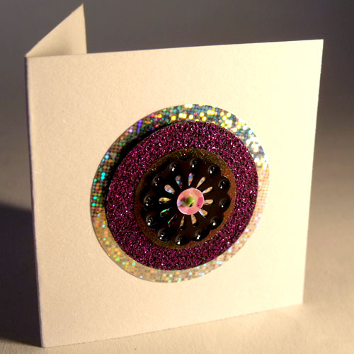 Hologram & Purple Glitter Circles Mini Card