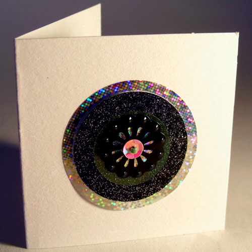 Hologram & Black Glitter Circles Mini Card