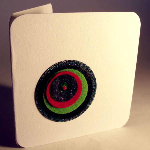 Green Retro Felt Circle Card