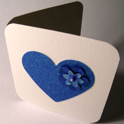 Blue Glitter Heart Mini Card