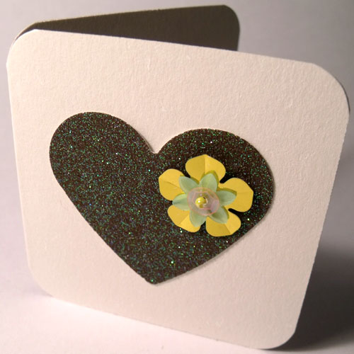 Olive Green Glitter Heart Mini Card