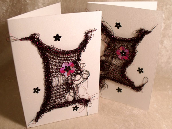 Red with Sequins Sparkly Goth Knit Card