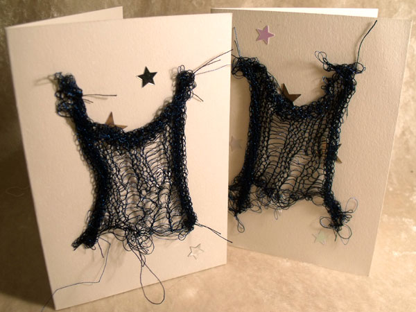 Blue with Stars Sparkly Goth Knit Card