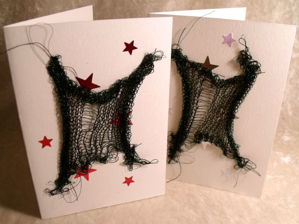 Green with Stars Sparkly Goth Knit Card