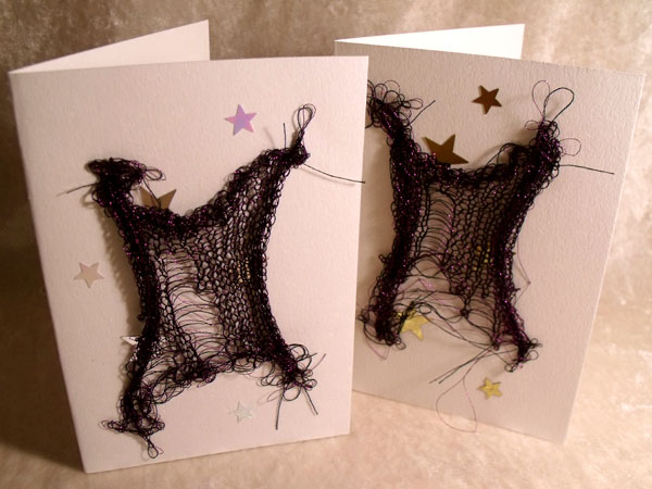 Purple with Stars Sparkly Goth Knit Card