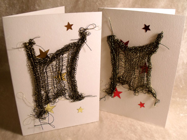 Gold with Stars Sparkly Goth Knit Card