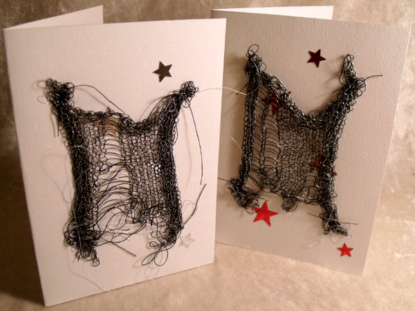 Silver with Stars Sparkly Goth Knit Card