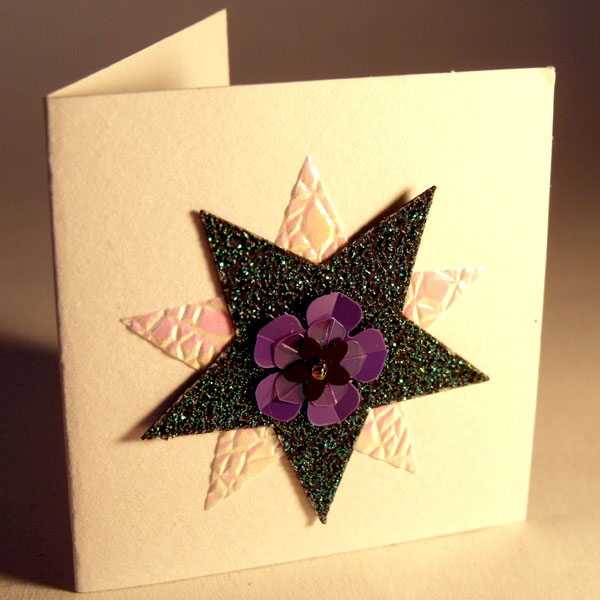 Green Glitter Stars Mini Card