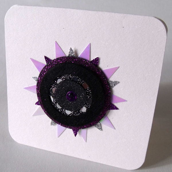 Silver, Purple & Black Felt Sunburst Card
