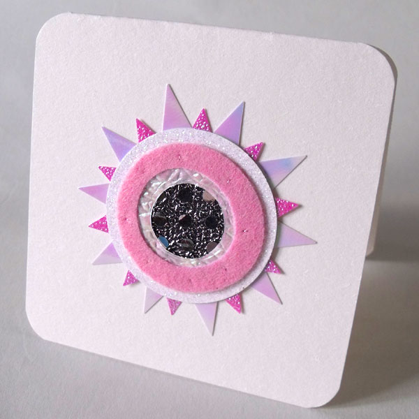 Pink, Silver & Pearly Felt Sunburst Card