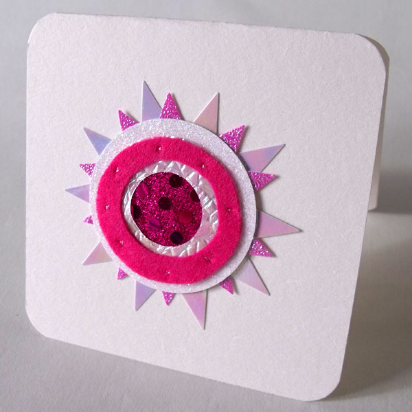 Pink & Pearly Felt Sunburst Card