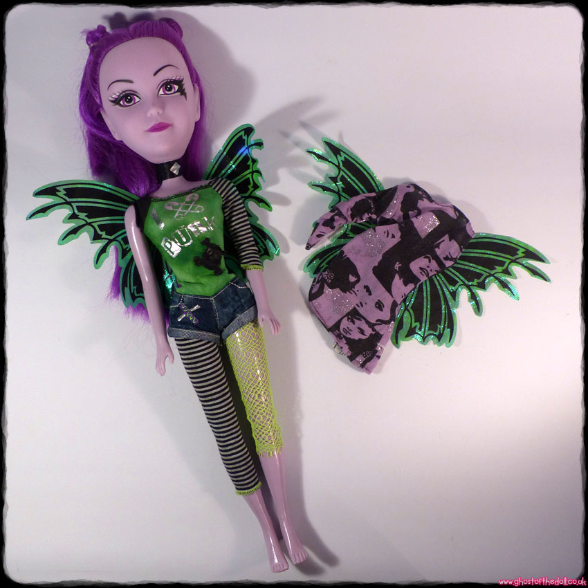 "Pixy Punks ""Pretty N Punk"" Large Purple Doll + Extra Outfit (Funville c.2014)"