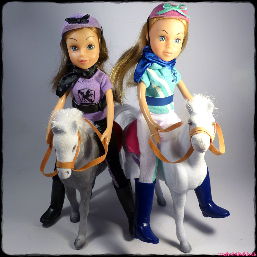 "PONY PARADE 10"" Dolls Riding Outfits + Ponies Blond Brunette (Chad Valley)"