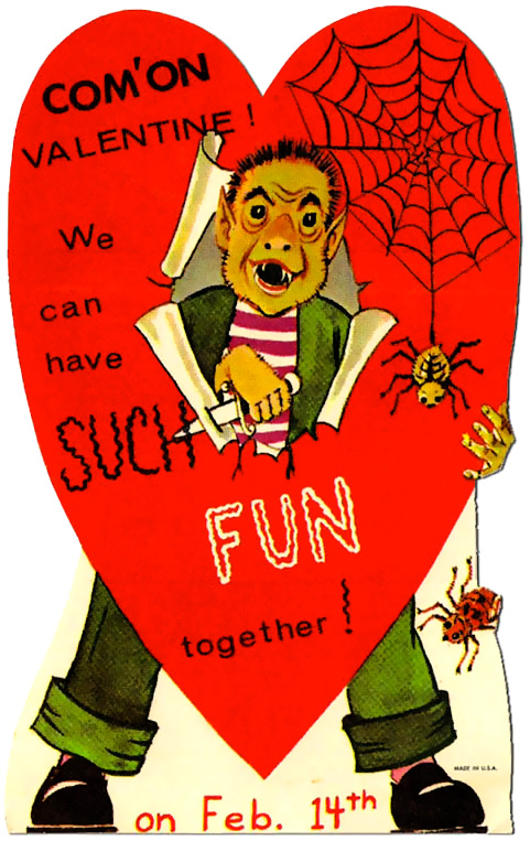 Witches Ghosts Ghouls Valentines Day Greeting Cards Retro Musings