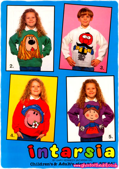 Intarsia Cartoon Sweater Knitting Patterns 1980s 1990 S Retro