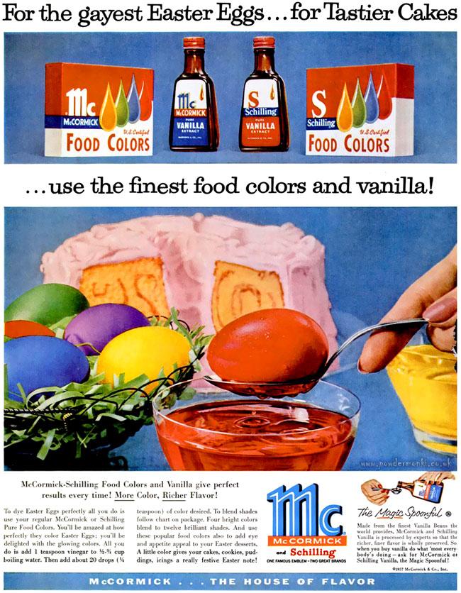 McCormick-Shilling Egg Dye ~ Easter Adverts [1958-1963] – Retro Musings