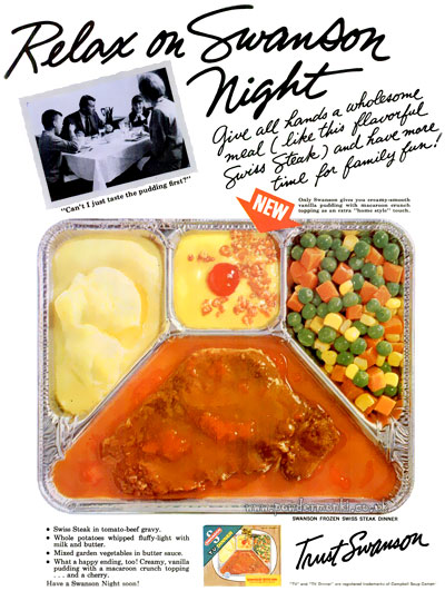Swanson tv dinners food adverts 1955 1956 retro musings these swanson tv dinner adverts are from 1955 56 i find the simple design of these ads appealing the food not so much forumfinder Choice Image