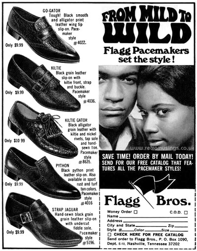 5602a308fa5 These ads for Flagg Bros men s shoes date from 1966-72.