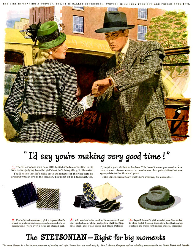 1bae5bd31139 Stetson ~ Hat Adverts  1945-1948  Illustrations by Phil Dormont ...