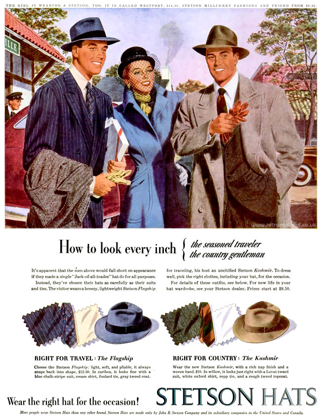 "Stetson ~ Hat Adverts  1945-1948  Illustrations by Phil Dormont. "" 9310de76357"