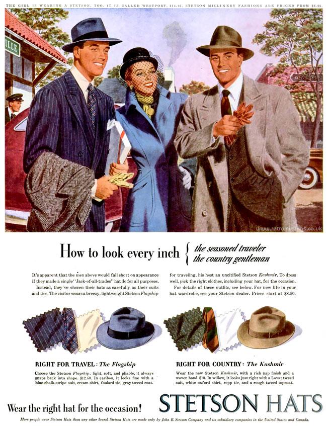 Stetson ~ Hat Adverts  1945-1948  Illustrations by Phil Dormont ... 39d877307f40