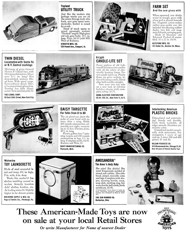 American Made Toys ~ Christmas Toy Adverts [1949]   Retro